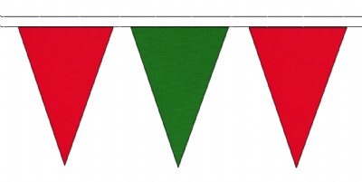 RED AND MID GREEN TRIANGULAR BUNTING - 10m / 20m / 50m LENGTHS